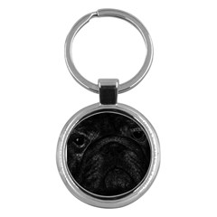 Black bulldog Key Chains (Round)