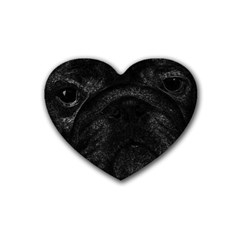 Black bulldog Rubber Coaster (Heart)
