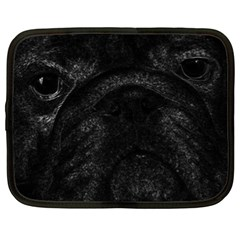 Black bulldog Netbook Case (XL)