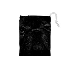 Black bulldog Drawstring Pouches (Small)