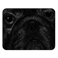 Black bulldog Double Sided Flano Blanket (Large)