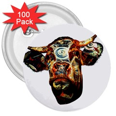 Artistic Cow 3  Buttons (100 pack)