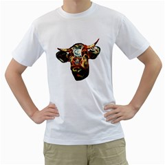 Artistic Cow Men s T-Shirt (White) (Two Sided)