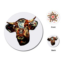 Artistic Cow Playing Cards (round)
