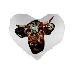 Artistic Cow Standard 16  Premium Flano Heart Shape Cushions