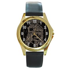 Count Vlad Dracula Round Gold Metal Watch