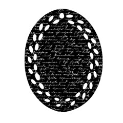 Handwriting  Oval Filigree Ornament (Two Sides)