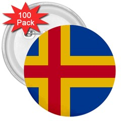 Flag of Aland 3  Buttons (100 pack)
