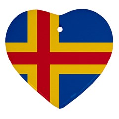 Flag of Aland Heart Ornament (Two Sides)