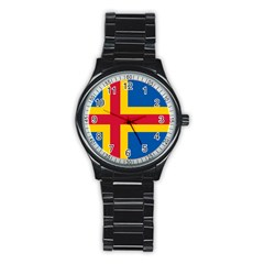Flag of Aland Stainless Steel Round Watch
