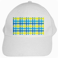 Gingham Plaid Yellow Aqua Blue White Cap
