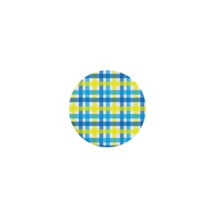 Gingham Plaid Yellow Aqua Blue 1  Mini Magnets