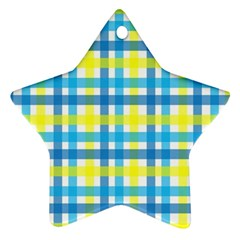 Gingham Plaid Yellow Aqua Blue Ornament (star)