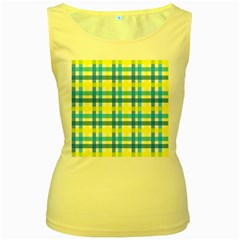 Gingham Plaid Yellow Aqua Blue Women s Yellow Tank Top