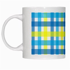 Gingham Plaid Yellow Aqua Blue White Mugs