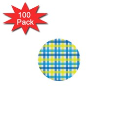 Gingham Plaid Yellow Aqua Blue 1  Mini Buttons (100 Pack)