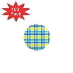 Gingham Plaid Yellow Aqua Blue 1  Mini Magnets (100 pack)