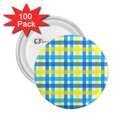 Gingham Plaid Yellow Aqua Blue 2.25  Buttons (100 pack)