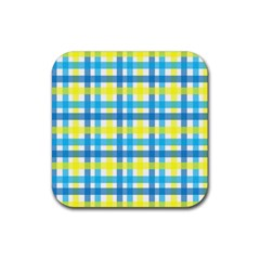 Gingham Plaid Yellow Aqua Blue Rubber Square Coaster (4 pack)