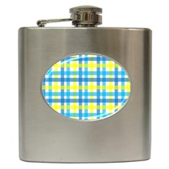 Gingham Plaid Yellow Aqua Blue Hip Flask (6 Oz)