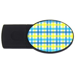 Gingham Plaid Yellow Aqua Blue USB Flash Drive Oval (2 GB)