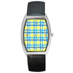 Gingham Plaid Yellow Aqua Blue Barrel Style Metal Watch