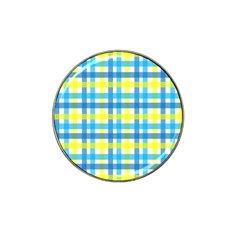 Gingham Plaid Yellow Aqua Blue Hat Clip Ball Marker (10 Pack)