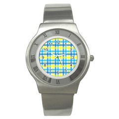 Gingham Plaid Yellow Aqua Blue Stainless Steel Watch