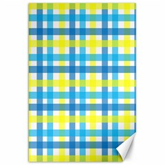 Gingham Plaid Yellow Aqua Blue Canvas 20  x 30
