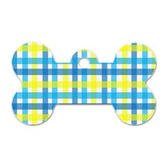 Gingham Plaid Yellow Aqua Blue Dog Tag Bone (one Side)