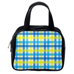 Gingham Plaid Yellow Aqua Blue Classic Handbags (One Side)