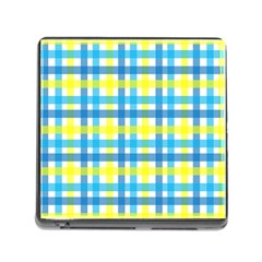 Gingham Plaid Yellow Aqua Blue Memory Card Reader (Square)