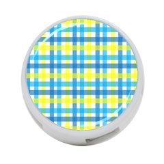 Gingham Plaid Yellow Aqua Blue 4 Port Usb Hub (one Side)