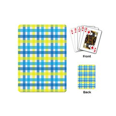 Gingham Plaid Yellow Aqua Blue Playing Cards (Mini)