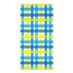 Gingham Plaid Yellow Aqua Blue Shower Curtain 36  x 72  (Stall)