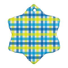 Gingham Plaid Yellow Aqua Blue Ornament (Snowflake)