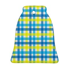 Gingham Plaid Yellow Aqua Blue Bell Ornament (Two Sides)