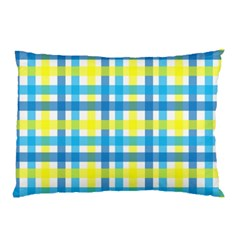 Gingham Plaid Yellow Aqua Blue Pillow Case (Two Sides)
