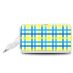 Gingham Plaid Yellow Aqua Blue Portable Speaker (White)