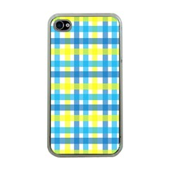 Gingham Plaid Yellow Aqua Blue Apple iPhone 4 Case (Clear)