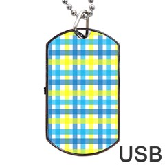Gingham Plaid Yellow Aqua Blue Dog Tag USB Flash (Two Sides)