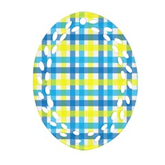 Gingham Plaid Yellow Aqua Blue Oval Filigree Ornament (Two Sides)