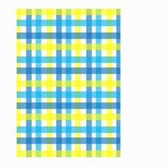 Gingham Plaid Yellow Aqua Blue Large Garden Flag (Two Sides)