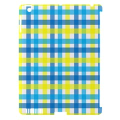 Gingham Plaid Yellow Aqua Blue Apple Ipad 3/4 Hardshell Case (compatible With Smart Cover)
