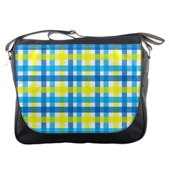 Gingham Plaid Yellow Aqua Blue Messenger Bags