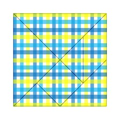 Gingham Plaid Yellow Aqua Blue Acrylic Tangram Puzzle (6  x 6 )