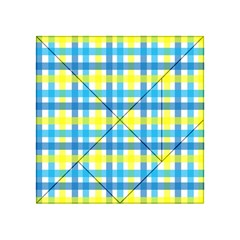 Gingham Plaid Yellow Aqua Blue Acrylic Tangram Puzzle (4  x 4 )