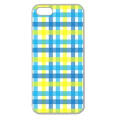 Gingham Plaid Yellow Aqua Blue Apple Seamless Iphone 5 Case (clear)