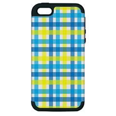 Gingham Plaid Yellow Aqua Blue Apple Iphone 5 Hardshell Case (pc+silicone)