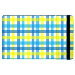 Gingham Plaid Yellow Aqua Blue Apple Ipad 2 Flip Case